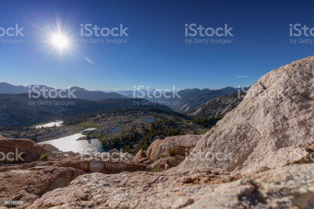 Hot Sun Over Sierra Nevada Mountains stock photo