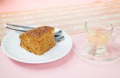 Hot tea and carrot cake