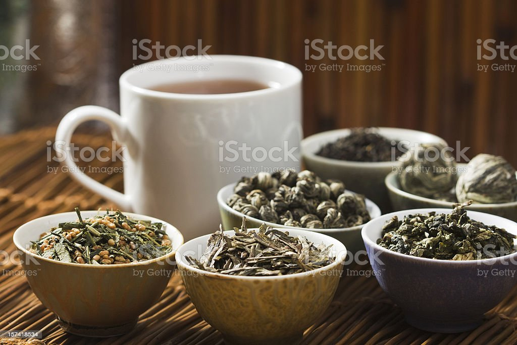 Hot Tea and Leaves, Tasting of Variety of Green and Black Tea stock photo