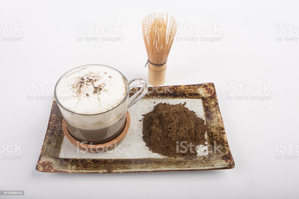 Hot tea and tea powder stock photo