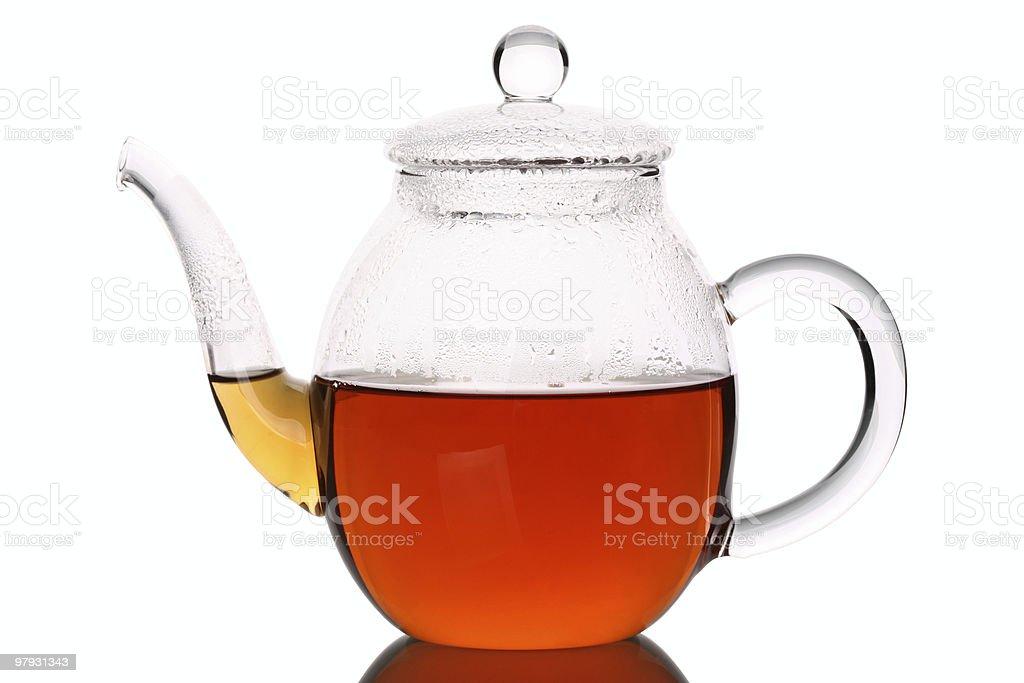 Hot Tea in Glass Pot stock photo