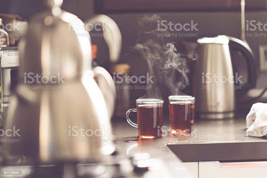 Hot tea in the morning stock photo