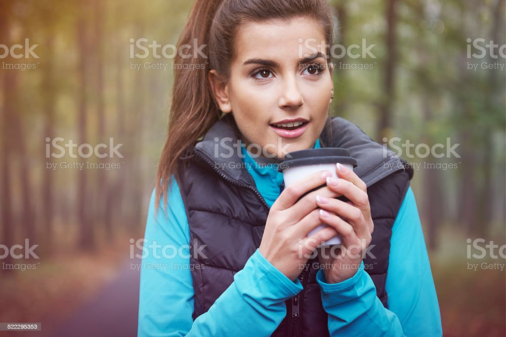 Hot tea is good idea for frozen day stock photo