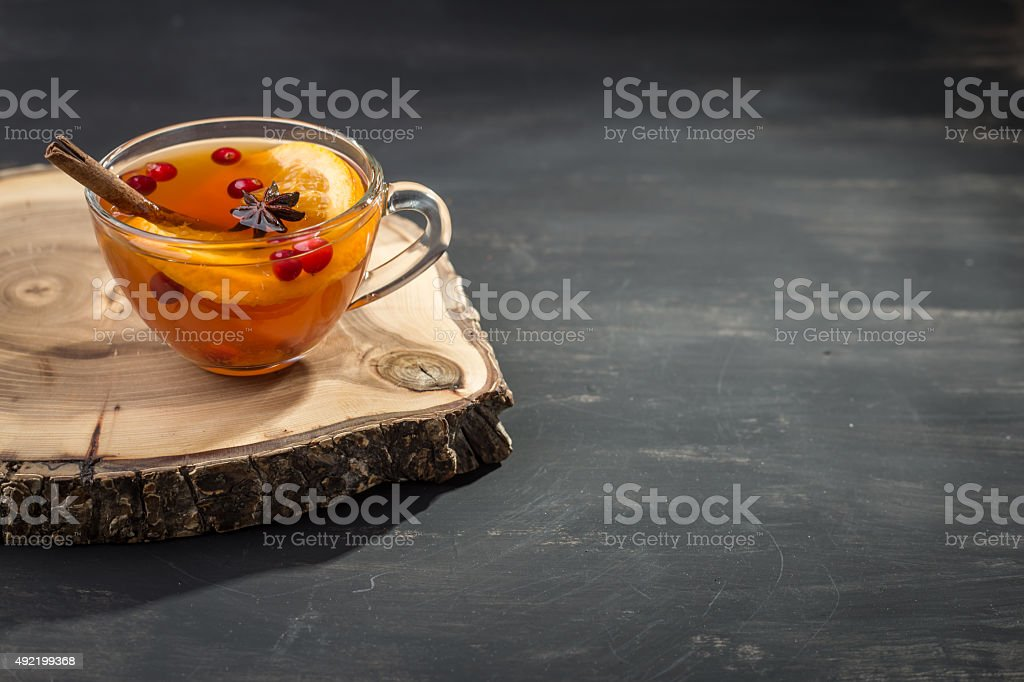Hot tea with orange stock photo