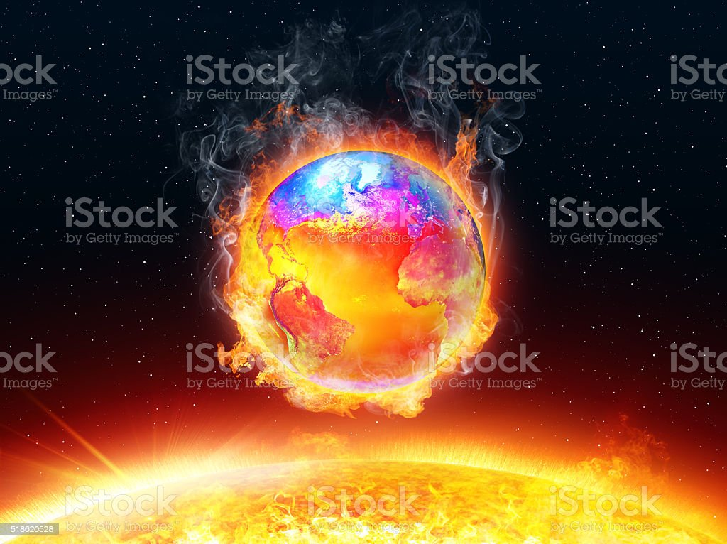 Hot Temperature In Earth Planet stock photo