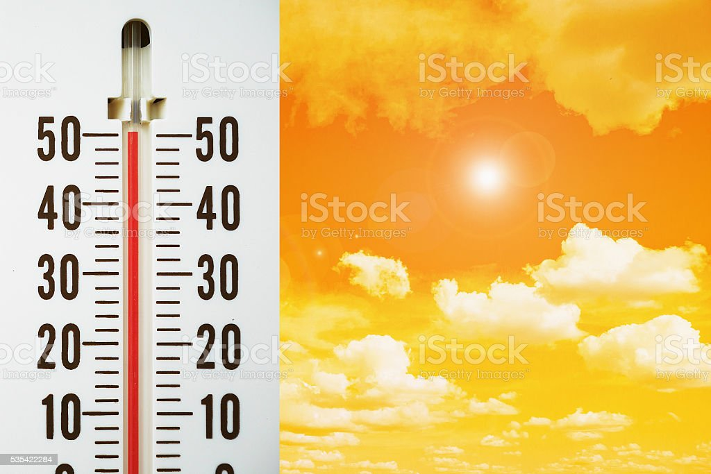 Hot temperature with lens flare effect stock photo