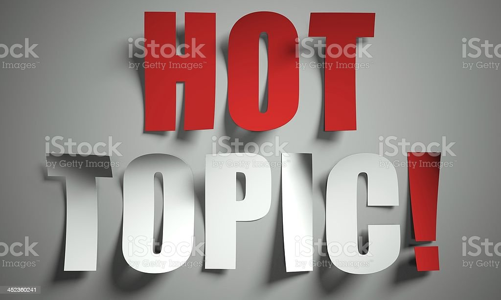 Hot topic cut from paper on background stock photo