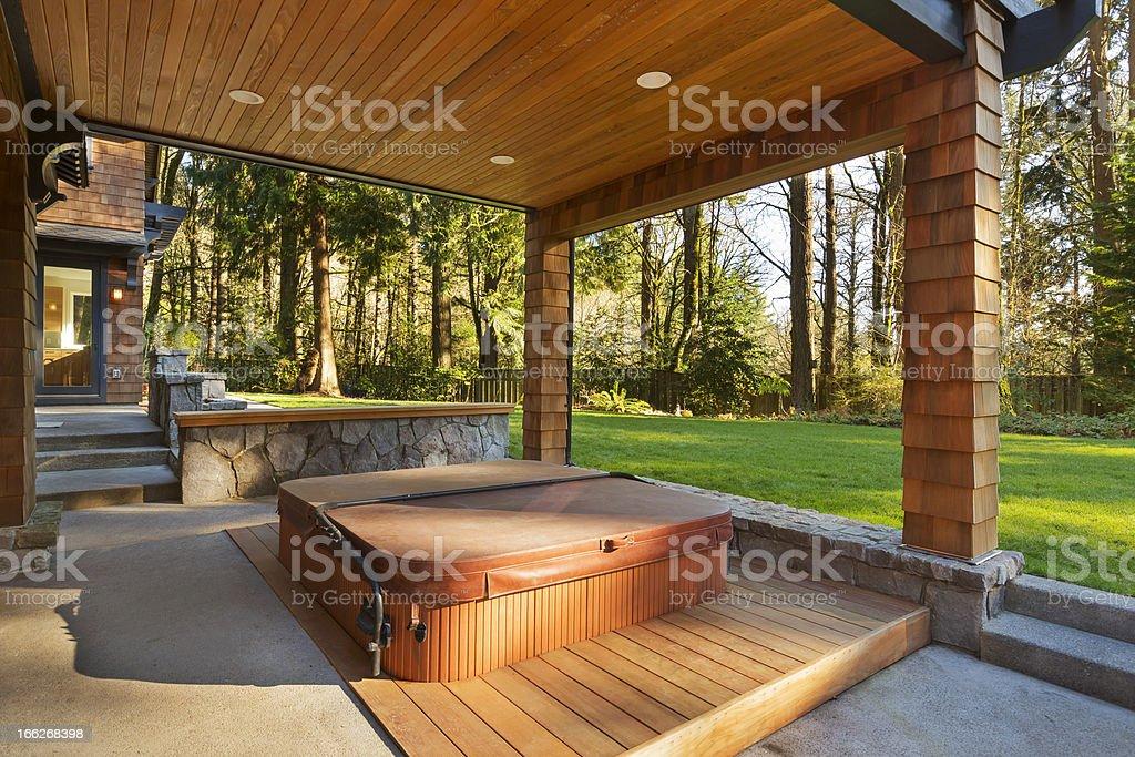 Hot Tub and Amazing Backyard stock photo
