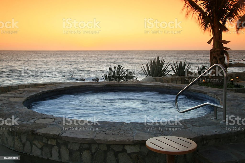 Hot Tub at a Luxury Resort in the Tropics stock photo