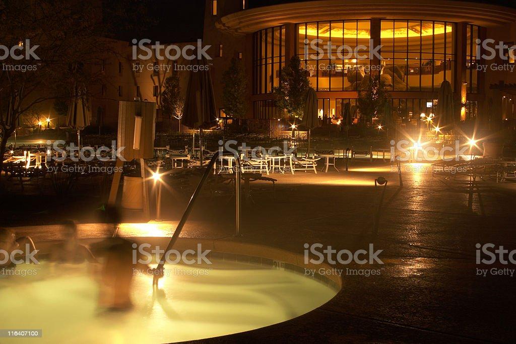 Hot Tub at Resort, Luxury-Accommodation, Night, Warm Tone, Spa, Enjoyment royalty-free stock photo