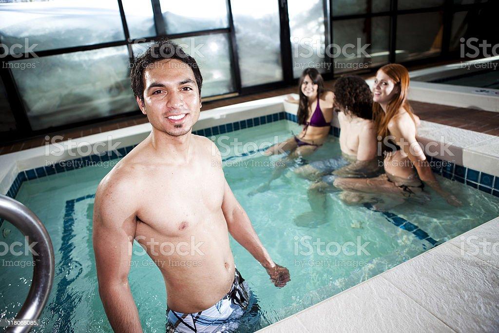 Hot Tub at Winter Spa Lodge royalty-free stock photo