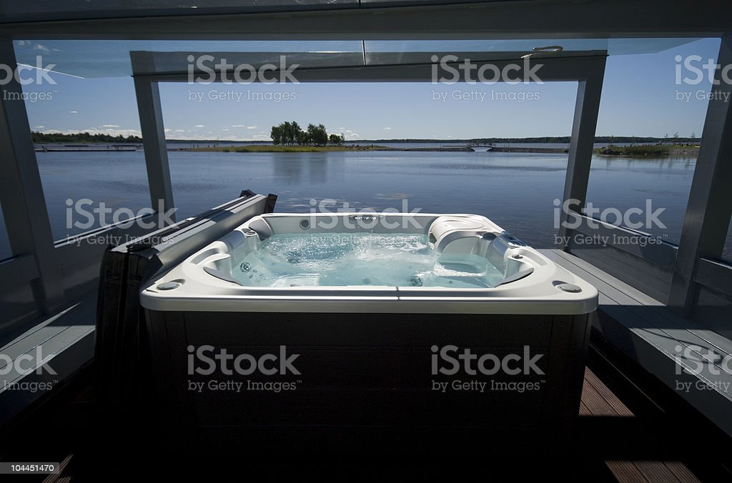 Jacuzzi by the beach. stock photo
