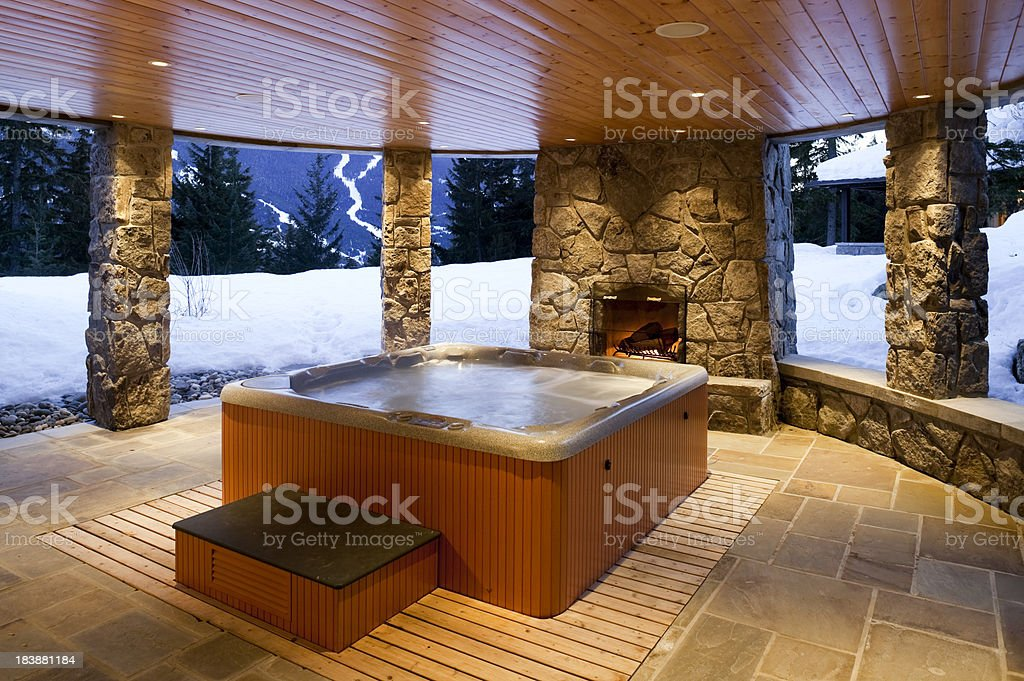 hot tub house home interior whistler royalty-free stock photo