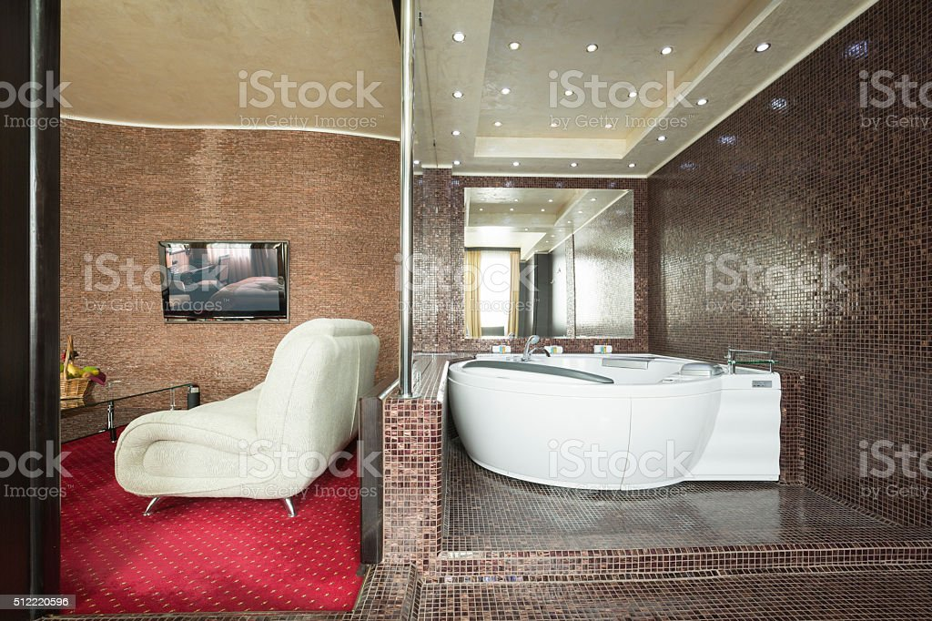 Jacuzzi in a luxury hotel suite stock photo