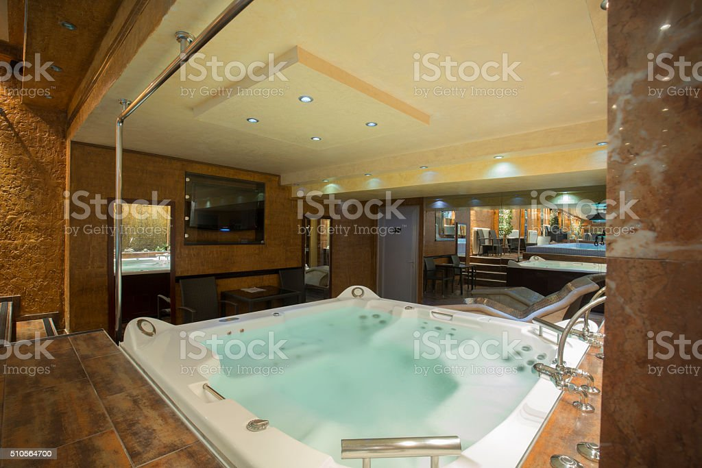 Jacuzzi in a spa center stock photo