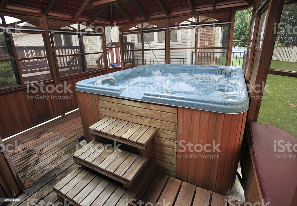 Hot Tub in American Residence stock photo