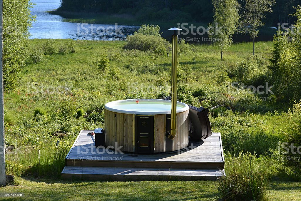 Hot tub in the woods royalty-free stock photo