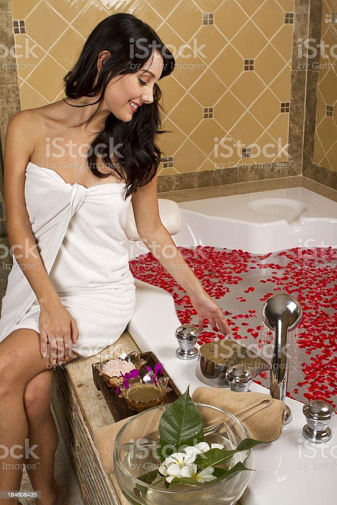 Jacuzzi lady stock photo