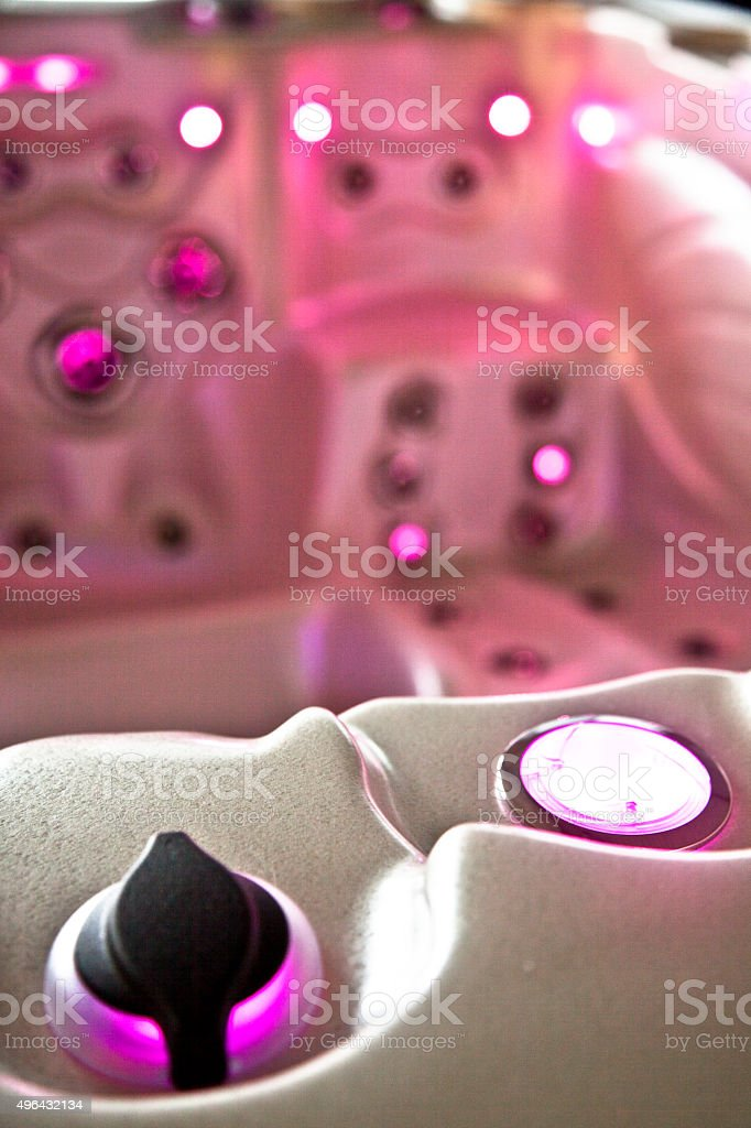 Hot Tub seat and jets with light close up stock photo