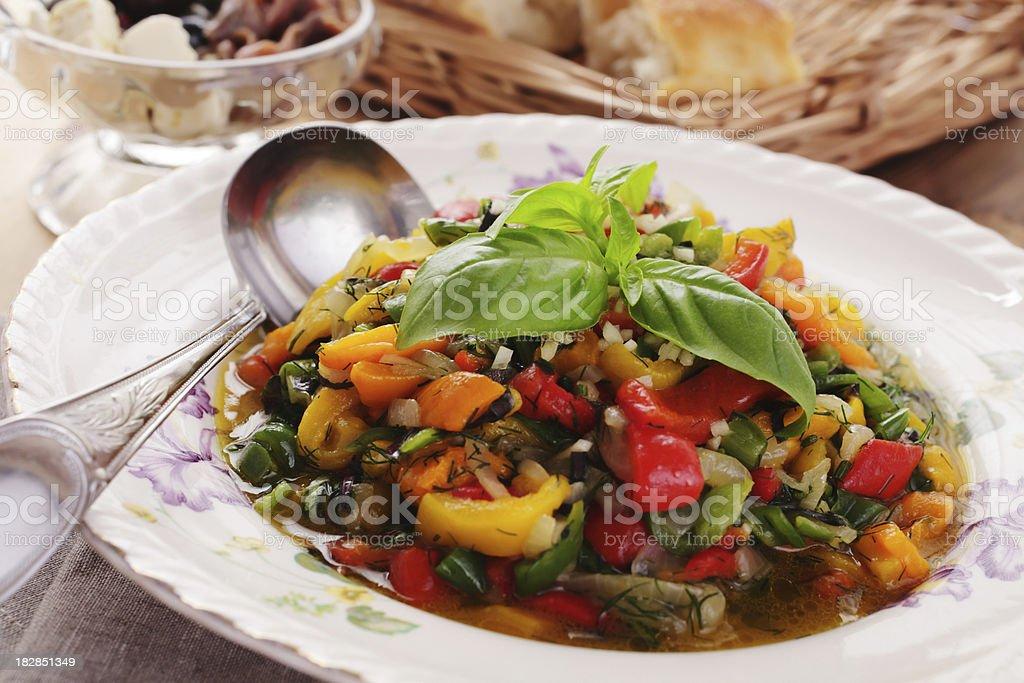 Hot vegetable salad stock photo