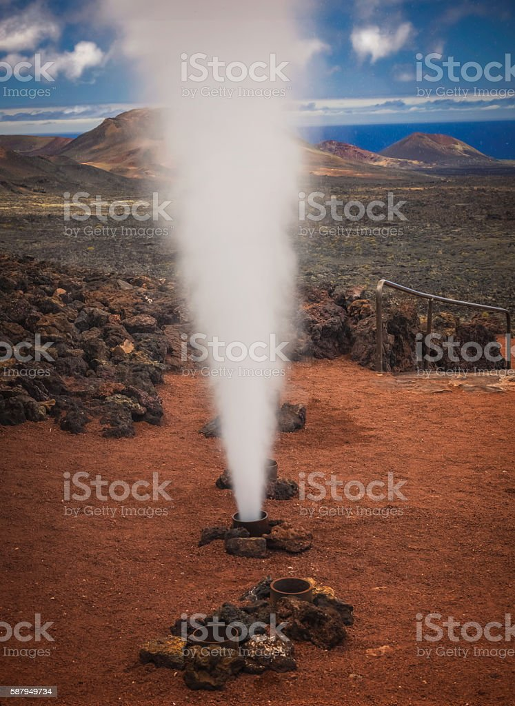 Hot water and steam vents stock photo