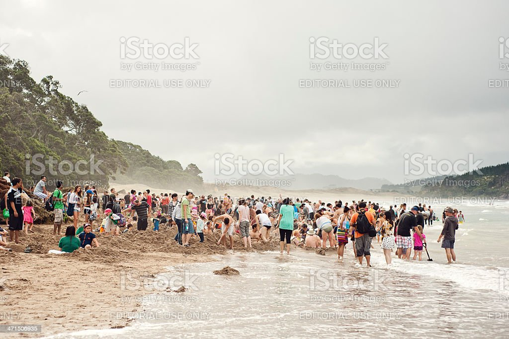 Hot Water Beach over Easter Weekend royalty-free stock photo