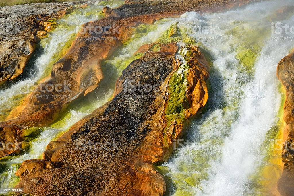 Hot Water From Grand Prismatic Spring, Yellowstone stock photo