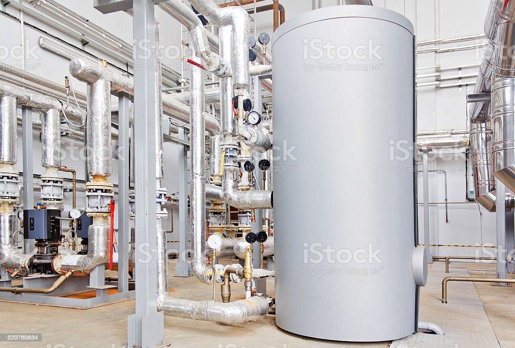 Hot water industrial boiler stock photo