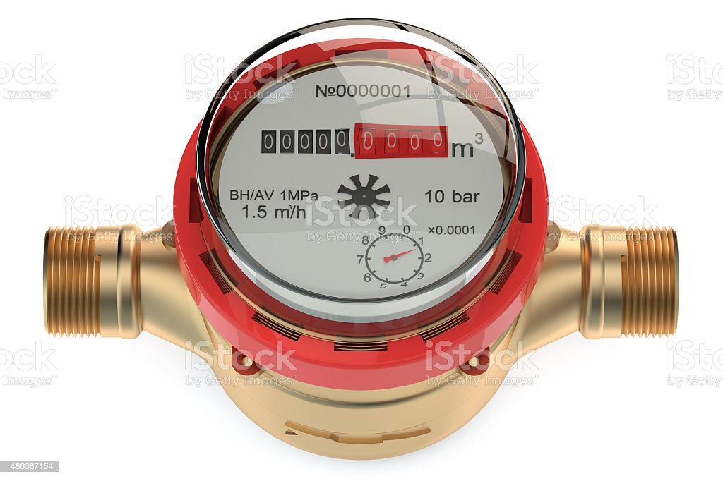 hot water meter stock photo
