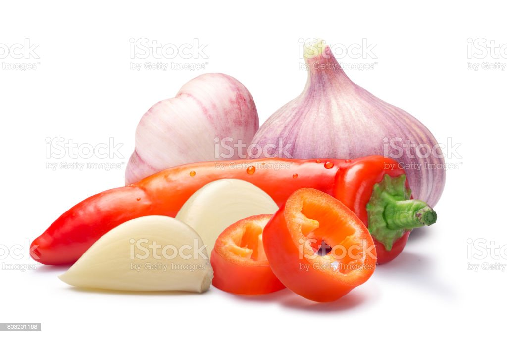 Hot wax paprika with garlic, paths stock photo