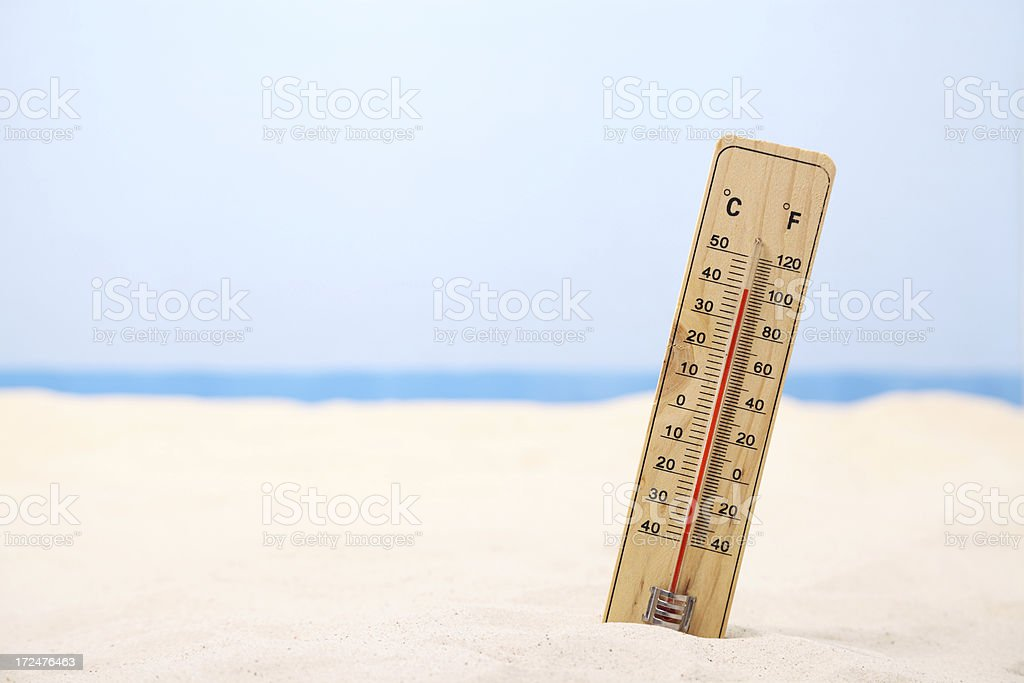 Hot weather at the beach stock photo