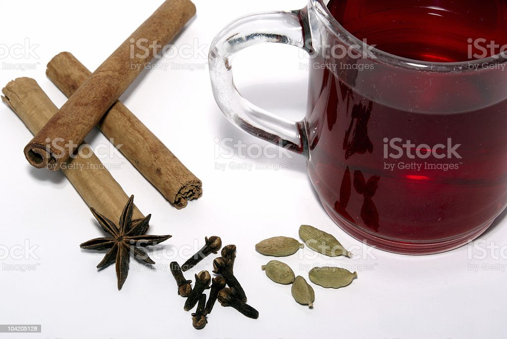 Hot wine and useful spices royalty-free stock photo
