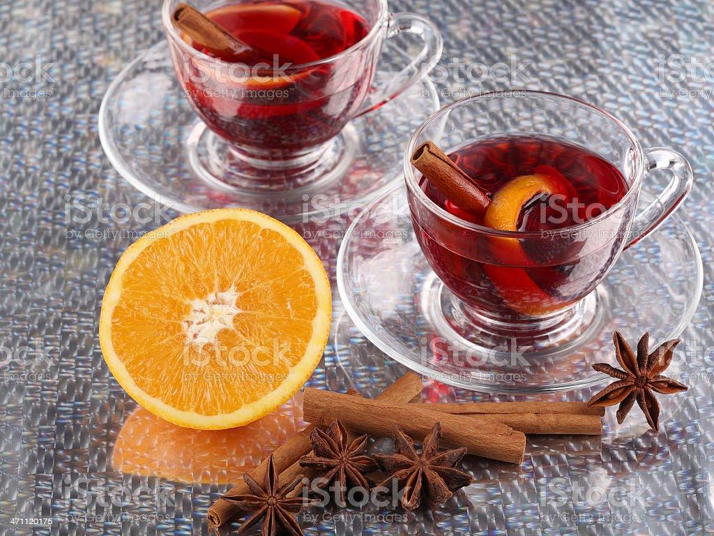 Hot Wine Punch Set with Aniseed Cinnamon Orange stock photo