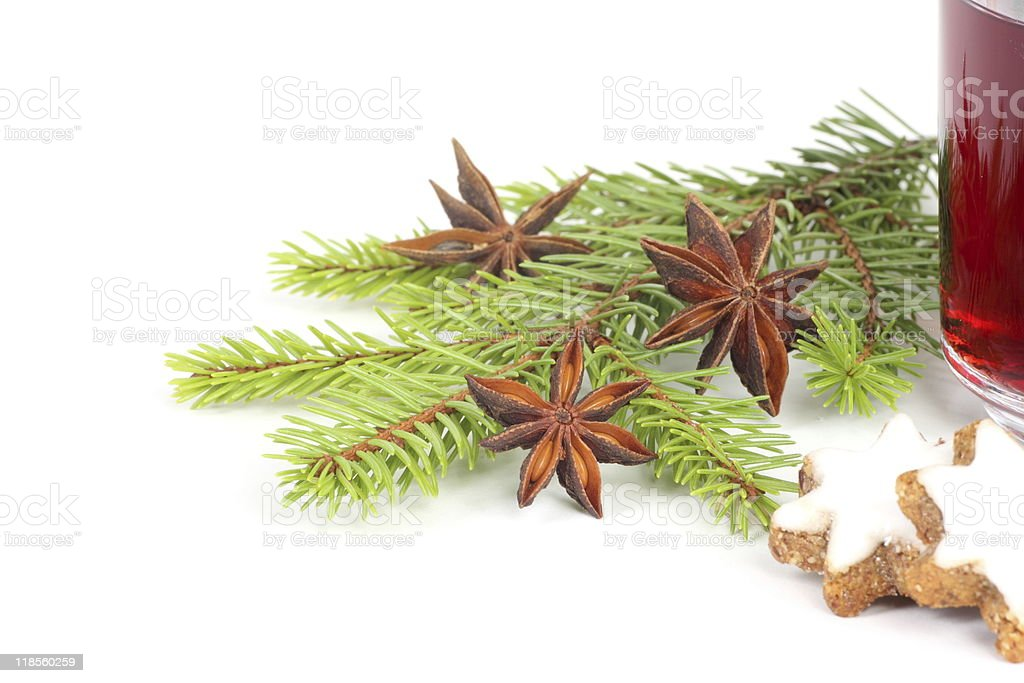 hot wine punch,star anise and cookies - xmas royalty-free stock photo