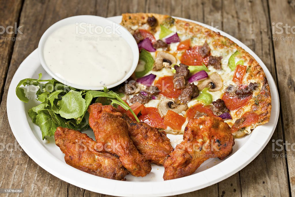 Hot Wings And Pizza stock photo