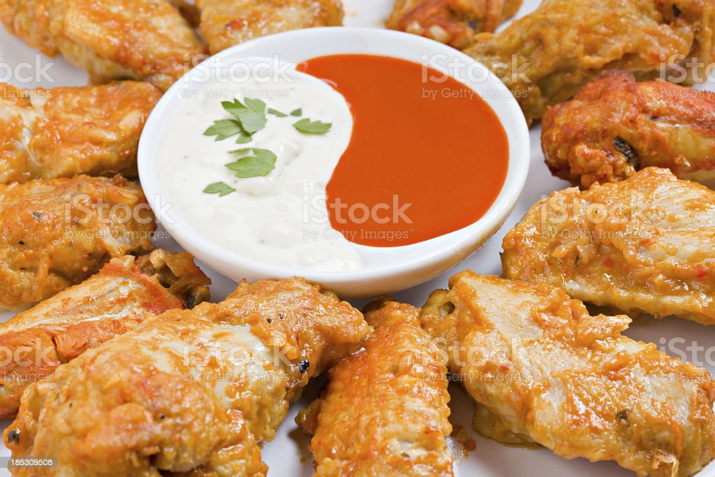 Hot Wings And Sauce stock photo