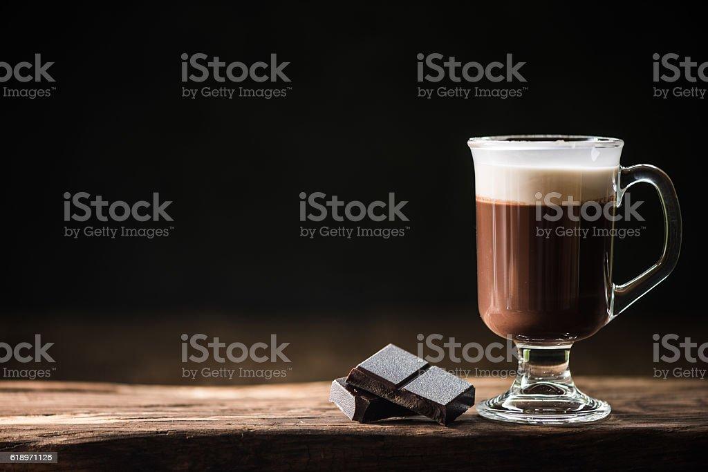 Hot winter warming Irish coffee on bar stock photo