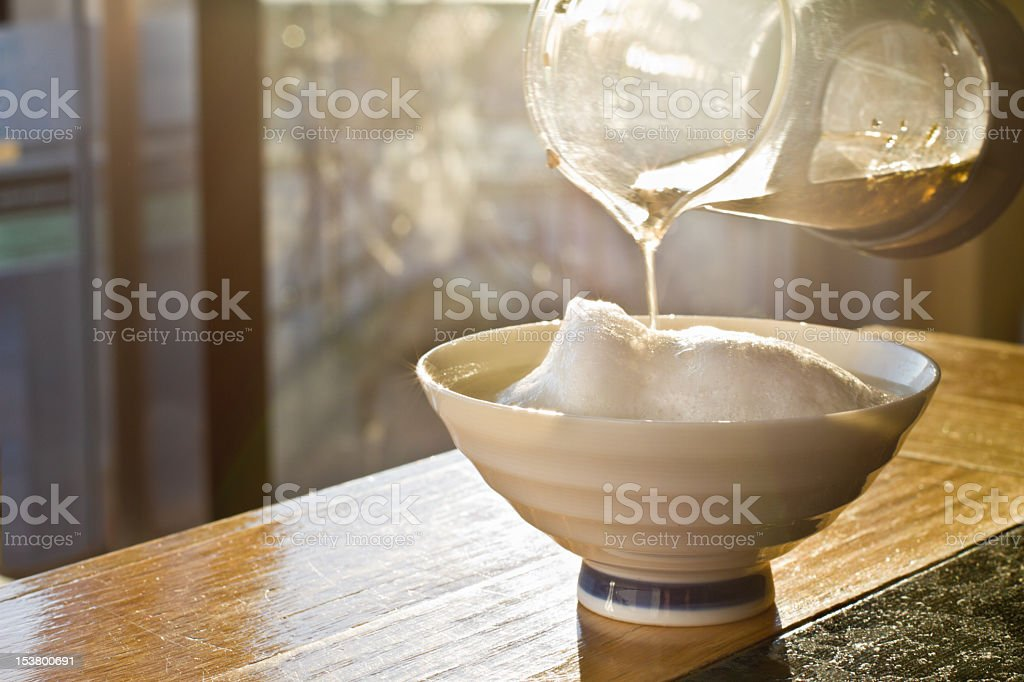 Hot Yerba Mate Being Poured stock photo