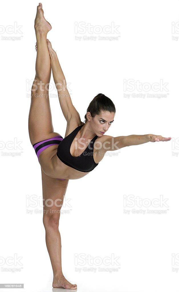 Hot Yoga Pose (Dandayamana Dhanurasana ) stock photo