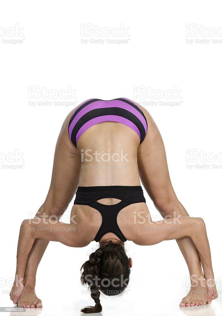 Hot Yoga Pose (Dandayamana Bibhaktapada Paschimottanasana) royalty-free stock photo