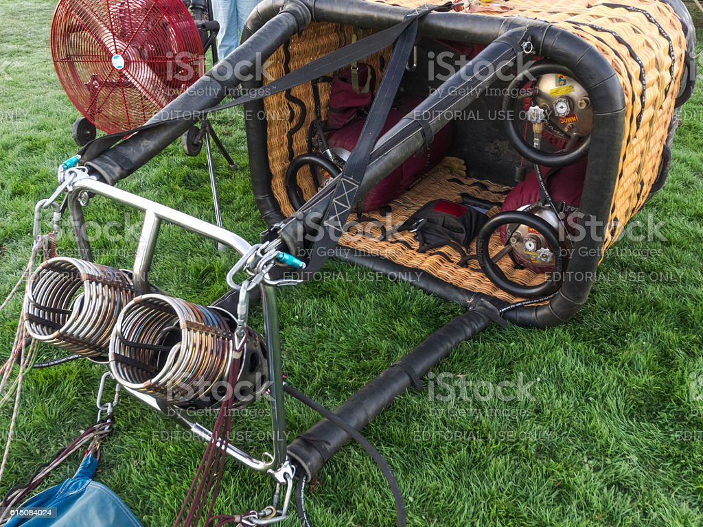 Hot-Air Balloon Basket on ground Albany Oregon Art Air Festival stock photo