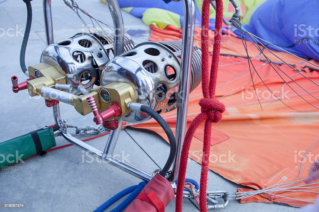 Hot-air balloon burners detail stock photo