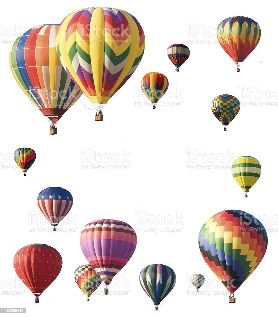 Hot-air balloons arranged around edge of frame stock photo