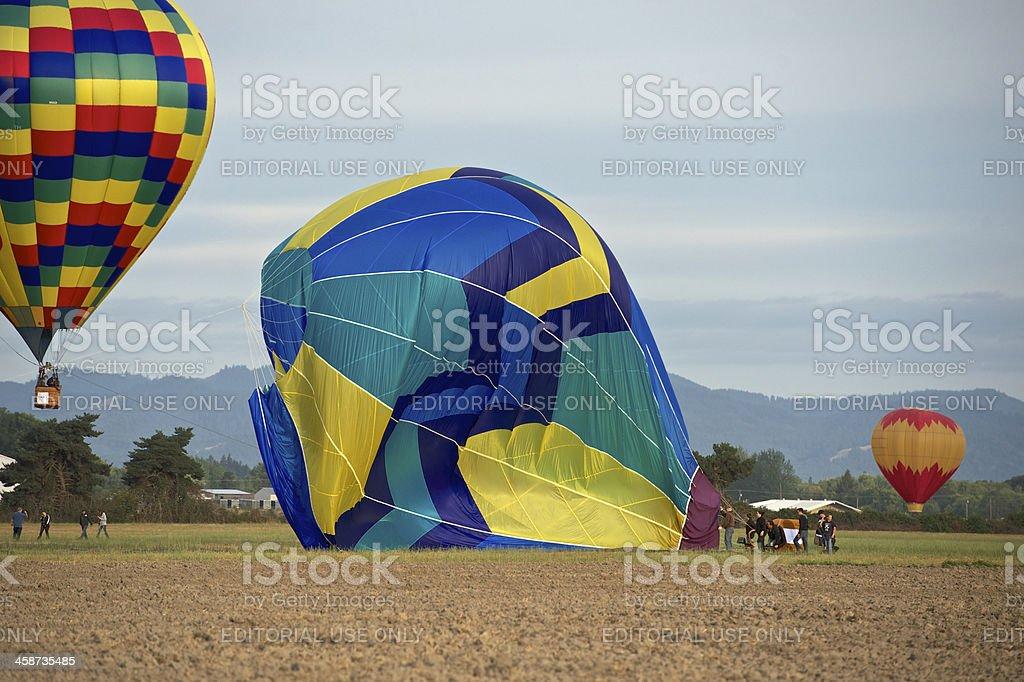 Hot-Air Balloons Landing Field Albany Oregon Art air Festival stock photo