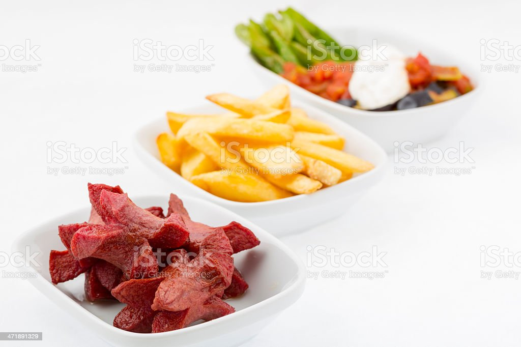 HotDog and French Fries & Shakshouka royalty-free stock photo
