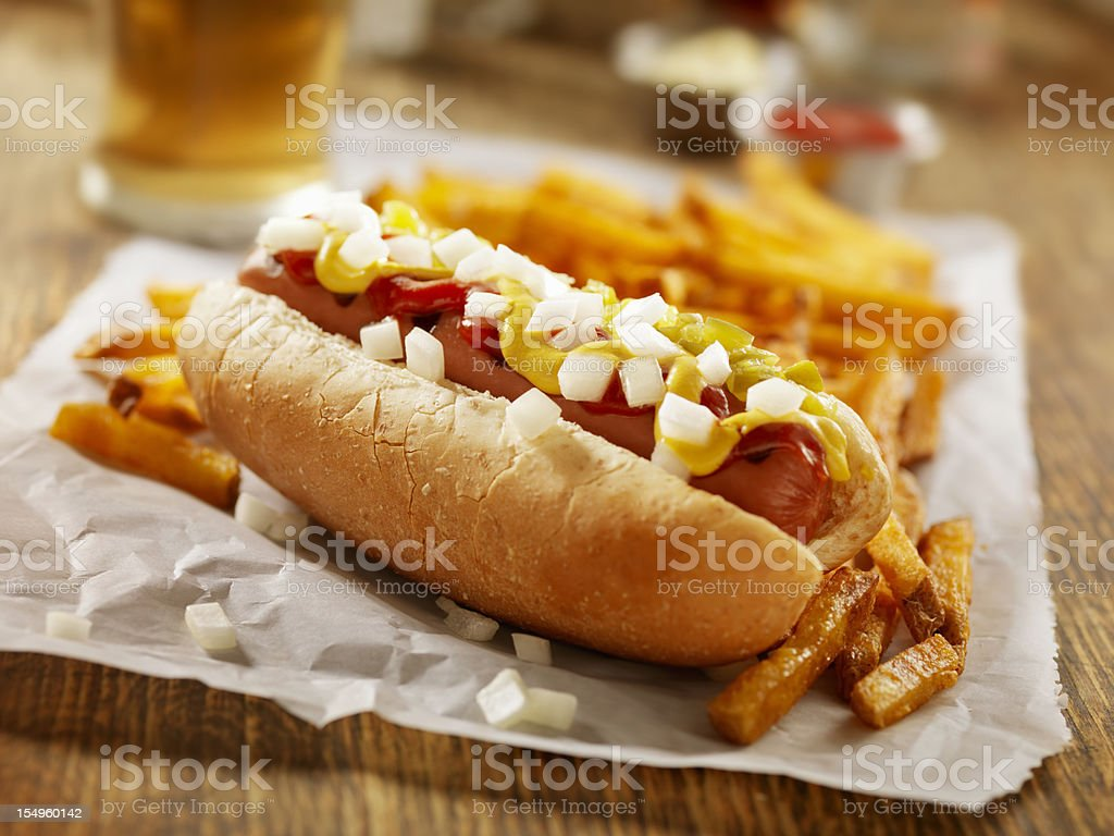 Hotdog and Fries with a Beer royalty-free stock photo