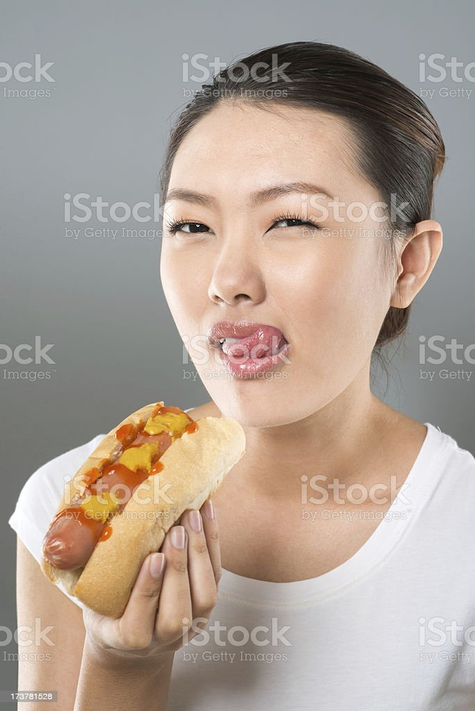 Hot-dog lover royalty-free stock photo
