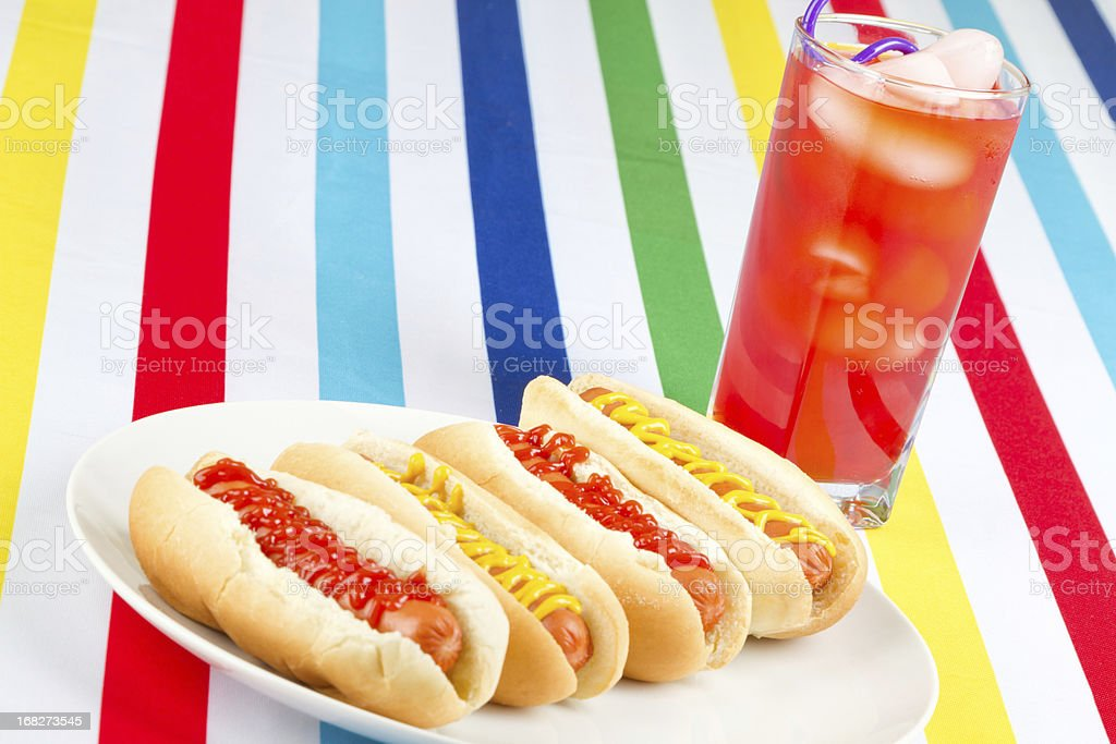 Hotdog meal with fruit drink stock photo