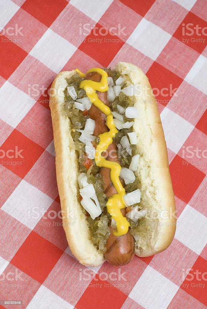 Hotdog on picnic table royalty-free stock photo