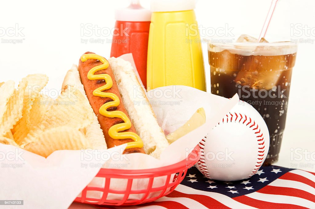 Hotdog, Soda and Baseball royalty-free stock photo